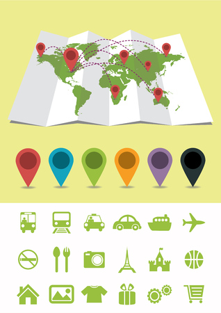 World Map with Pins and icons Vector