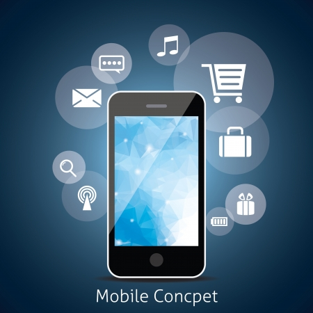 Smart Phone with Cloud of Media Application Icons. Vector