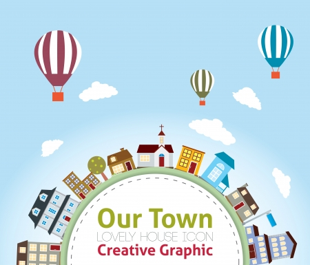 Our Town with Lovely House Icons  (hot air balloon in the sky) Vector