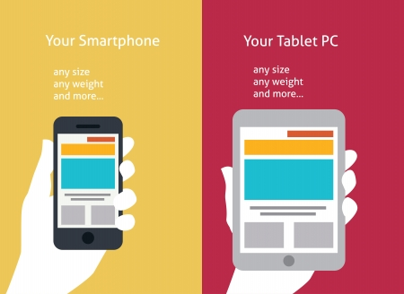 smartphone apps: Vector illustration of smart phone and tablet (flat style)