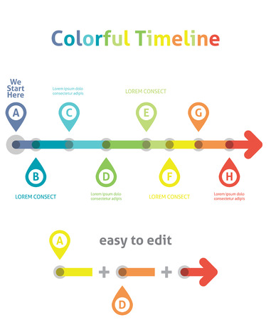 Chronologie color�. Mod�le infographique. Facile � modifier Illustration