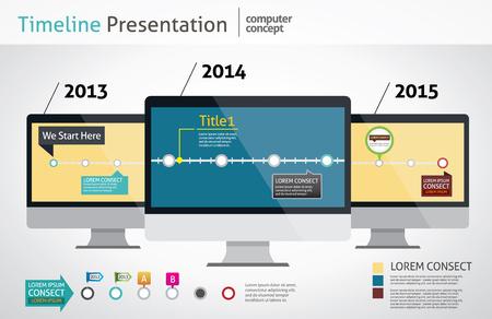 computer design timeline Vector