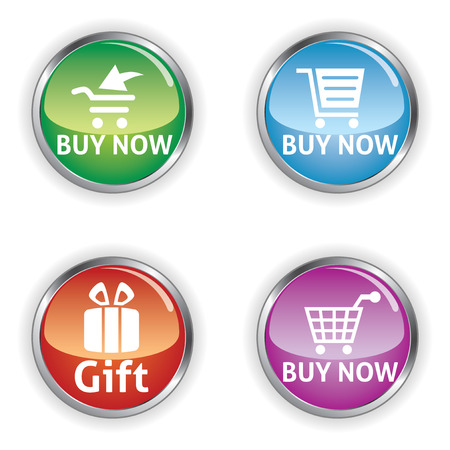 buy button: Vector illustration of colorful web elements for online shopping, buy now button Illustration