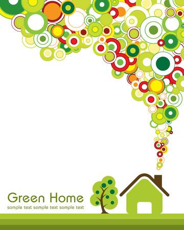haus garten: Konzept Illustration des gr�nen Hauses