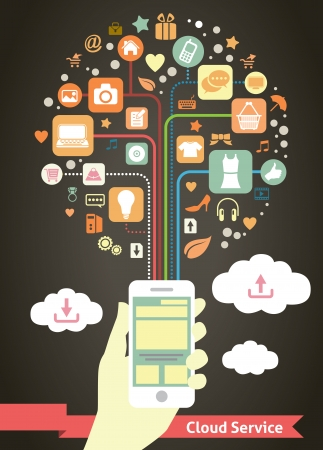tracing: Mobile Cloud Service infographic Illustration