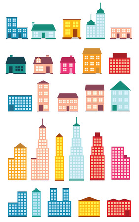 abstract symbolism: Set of icons of houses. Illustration