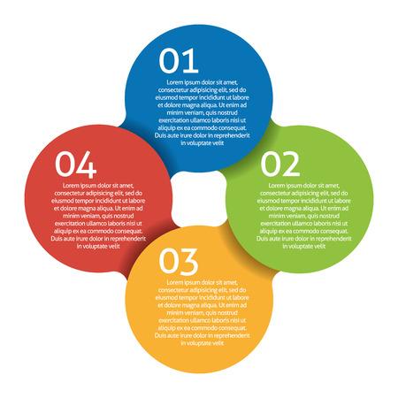 cíclico: Cuatro pasos de proceso - elemento de diseño. Vectorial.