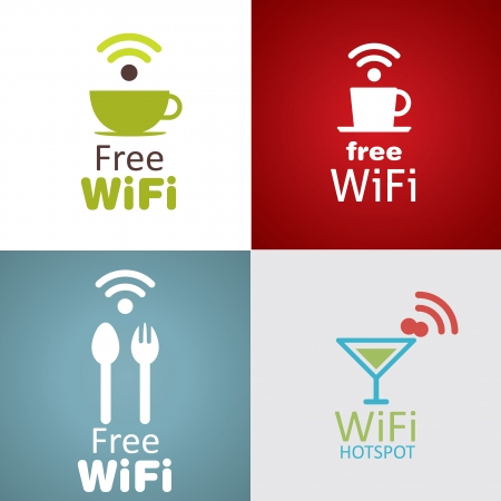 wifi access: Icona di Wifi cafe set