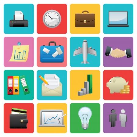 Flat Business icon set  Illustration