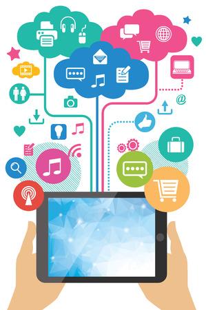 ontwikkeling: mobiele app ontwikkeling concept - handen met tablet pc
