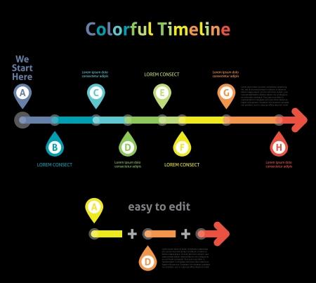 Colorful Flat Arrow Timeline Template