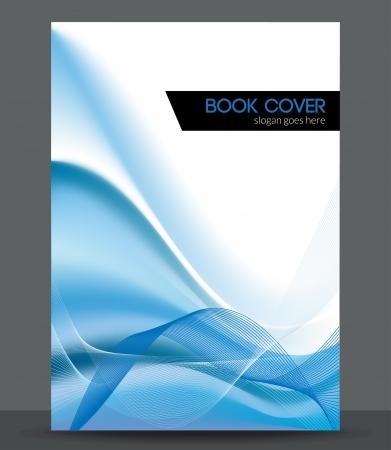 ブルー ウェーブ パンフレット小冊子カバー デザイン テンプレート