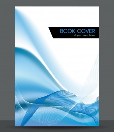 book cover design: Blue wave brochure   booklet cover design template Illustration