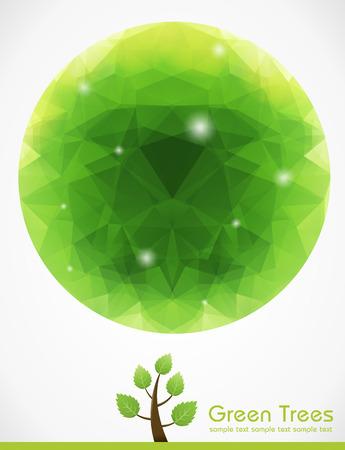 Green Tree with Polygon  Illustration