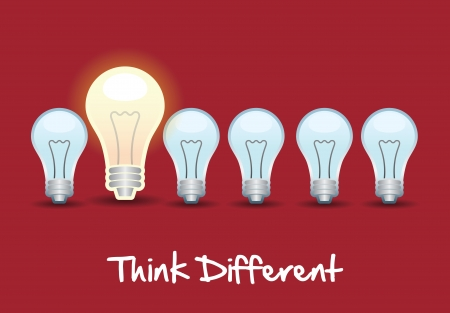 better icon: think different over red background vector illustration