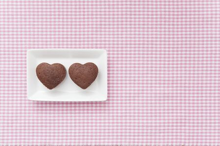 Chocolate Valentine Cake On Pink Cloth Heart Shape Stock Photo