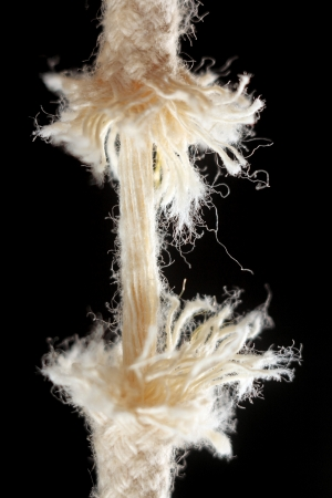 stranded rope, tearing into two parts, the insulation on a black background
