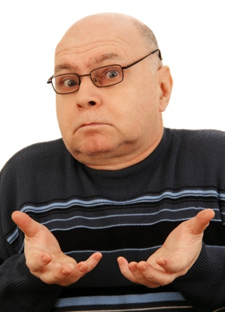 adult man with glasses shows surprise face and gesture, isolated on white background  photo