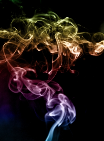jet and tendrils of smoke painted in different colors, the photo on a dark background  photo