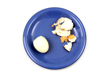 animal origin: one whole egg and cleaned shells lie on the blue porcelain plate, photo on the white background  Stock Photo