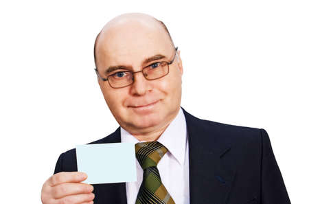 representing: businessman in a business suit holding a blank card shooting in the studio