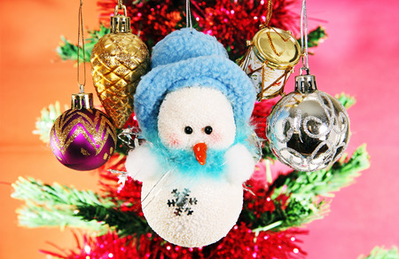 glass Christmas balls and snowman image on a colored .