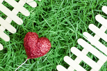 Red heart on green grass background and fence for Valentines Day