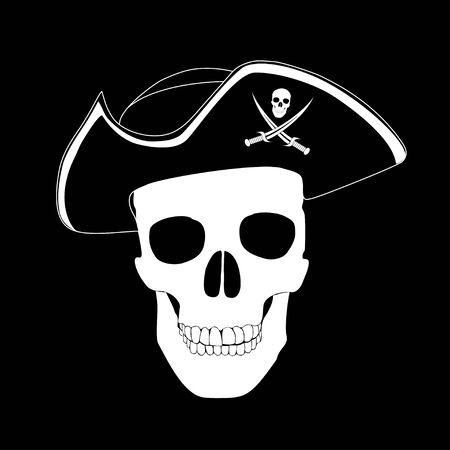 crane pirate: Pirate skull Illustration