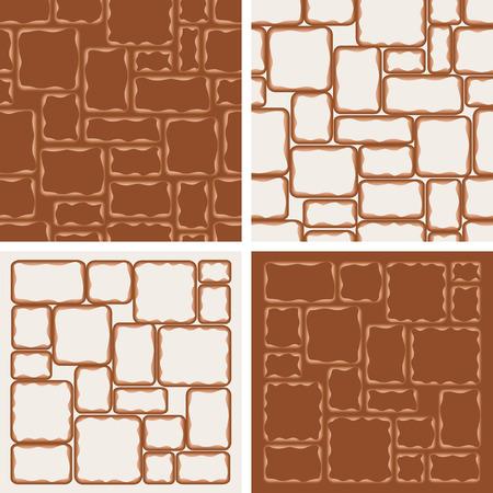 brickwork: 4 brickwork patterns Illustration