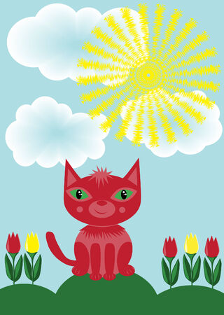 Red cat and tulips Illustration