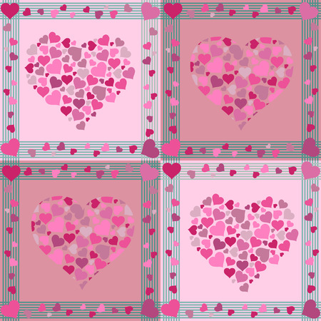 Repeated pattern with hearts Vector