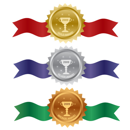 Set of gold, silver and bronze awards Stock Vector - 6222903