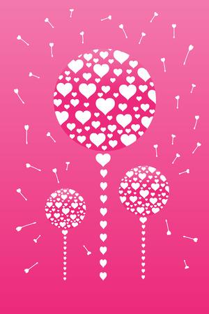 Heart dandelions Vector