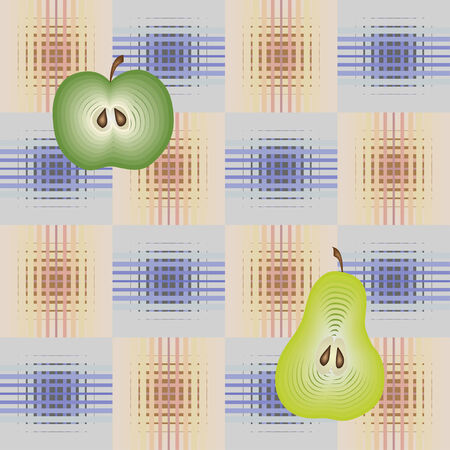 Seamless pattern with apples and pears Vector