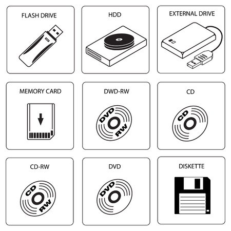 Icon set of data storage media Stock Vector - 6224559