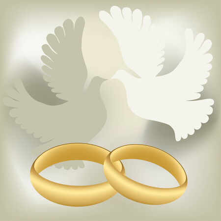 Wedding rings with pigeons Vector