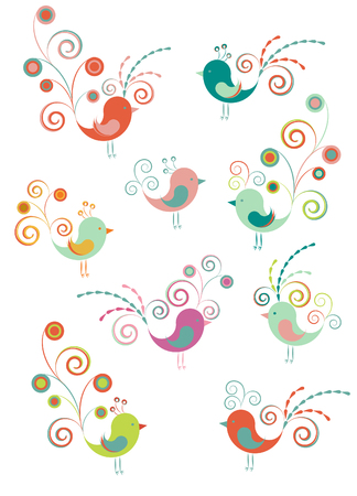 Set of decoration birds Vector