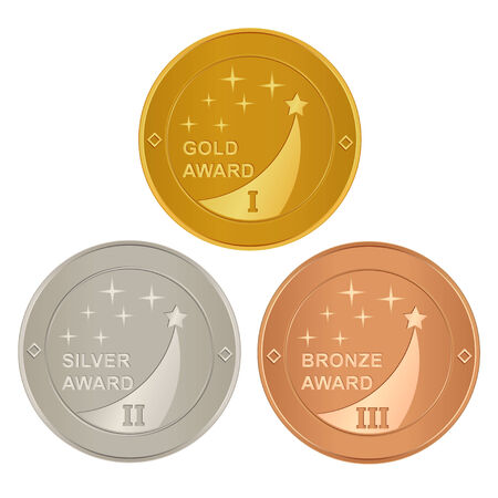 Set of gold, silver and bronze awards Vector