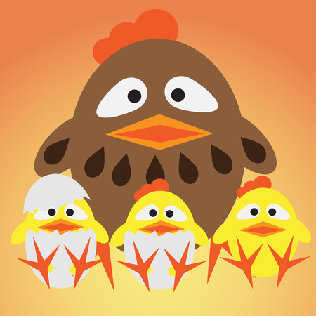 Little chickens and mother Vector