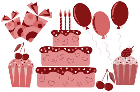 Set of sweets, cakes and gifts Vector