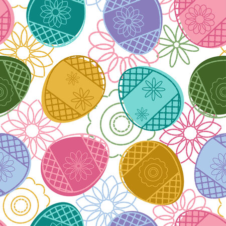 Easter seamless pattern with decorated eggs and flowers Vector