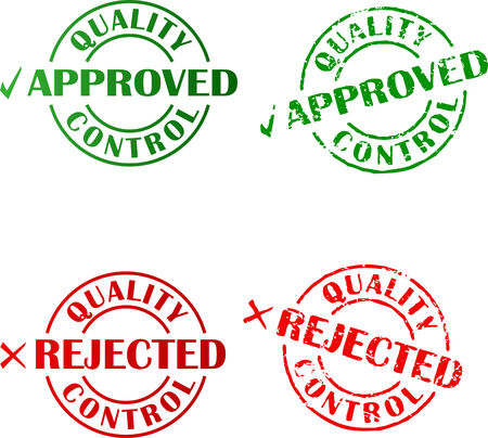 accepted label:  Approved and rejected ink stamps