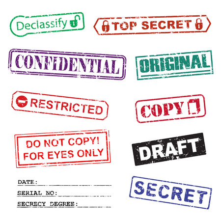Set of ink stamps for a secret documents Vector