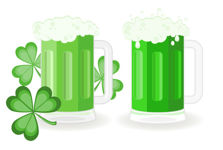 schooner: Green beer glasses for St Patricks Day Illustration