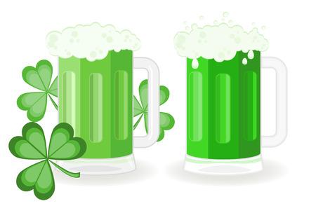 chope biere: Verres de bi�re vert pour le jour de la Saint Patrick