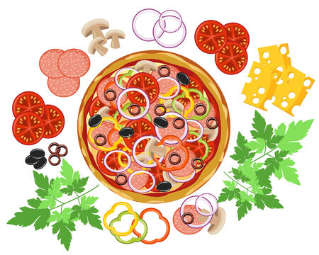 pepperoni: Pizza and set of ingredients Illustration