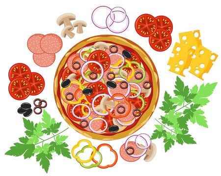 mozzarelle e formaggi: Pizza e insieme di ingredienti