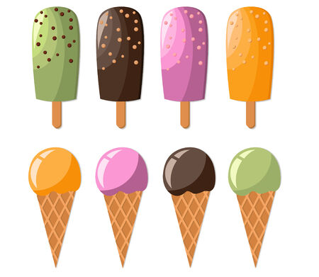 ice cream on a stick: Conjunto de coloridos helados