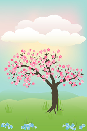Japanese cherry tree Vector