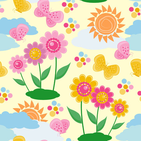 manic: Pattern senza soluzione di continuit� con un fiori e farfalle